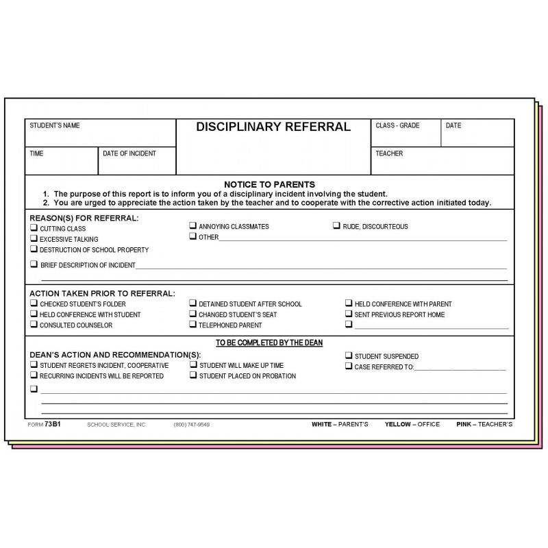 73B1 - Disciplinary Referral - Carbonless Forms