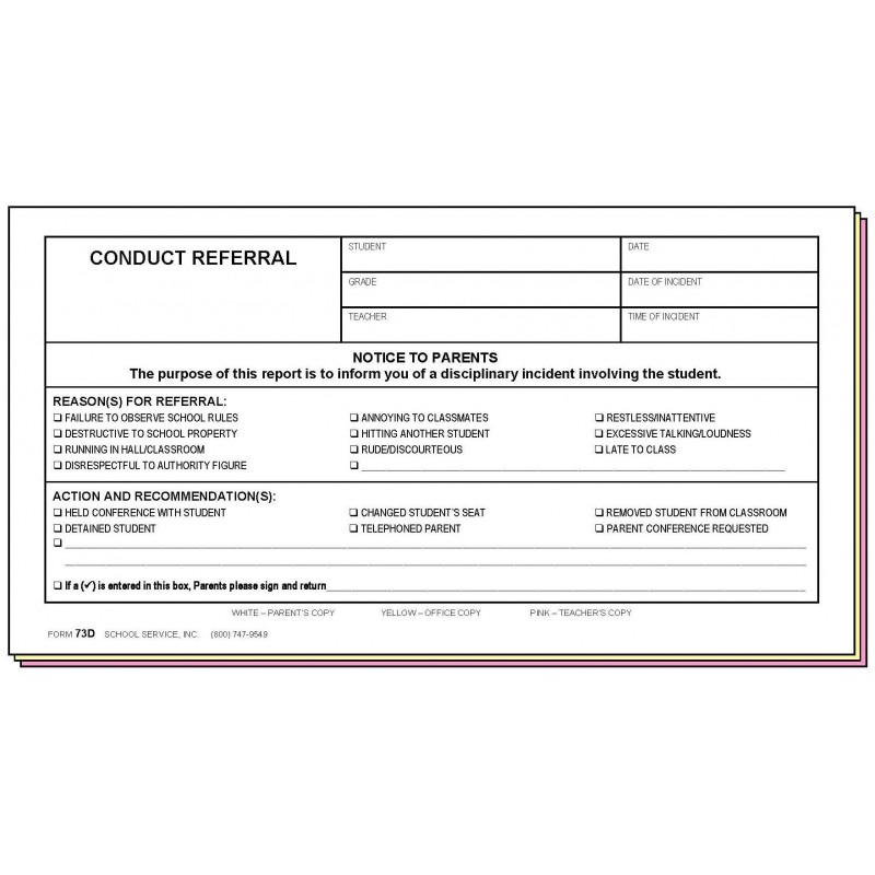73D - Conduct Referral - Carbonless Forms