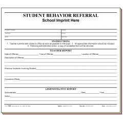 73H - Student Behavior Referral w/School Imprint