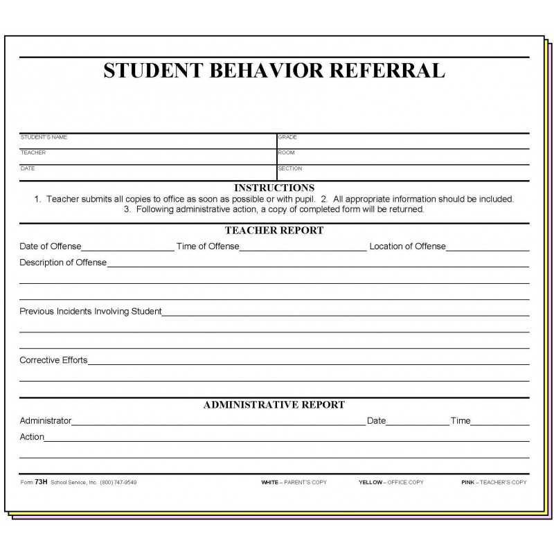 73H - Student Behavior Referral - Carbonless Forms