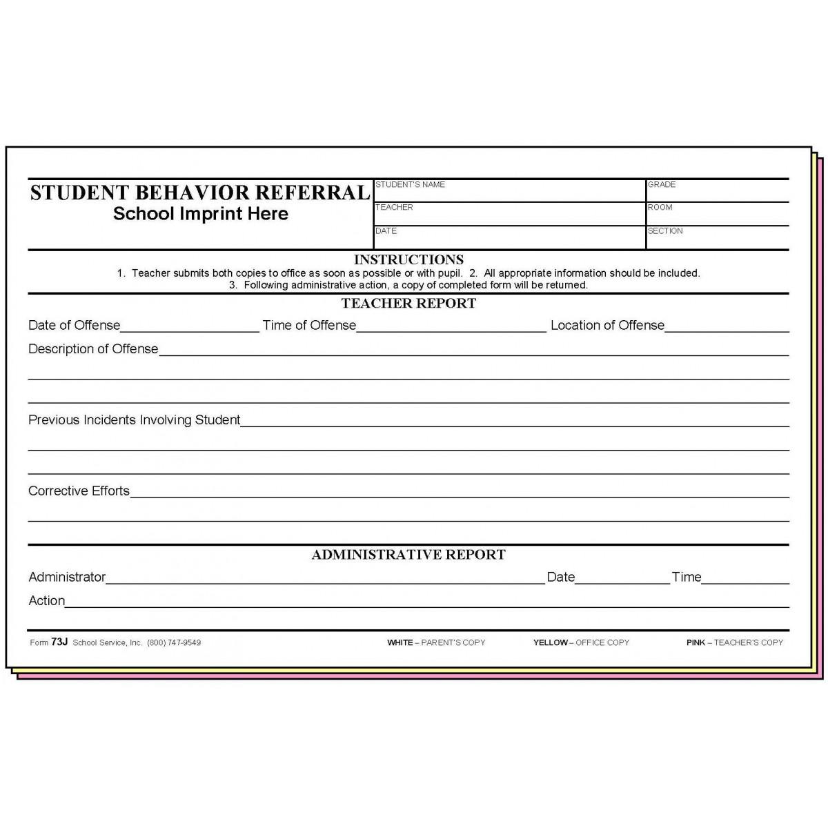 73j student behavior referral wschool imprint carbonless forms