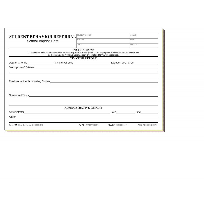 73J - Student Behavior Referral w/School Imprint - Carbonless Forms