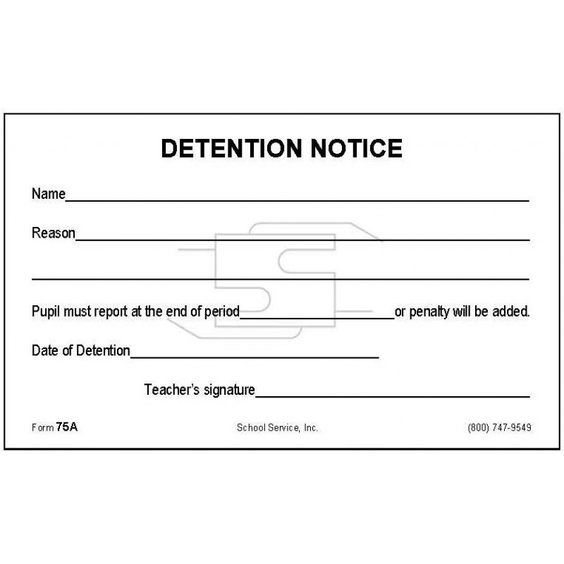 75A - Detention Notice - Padded Forms