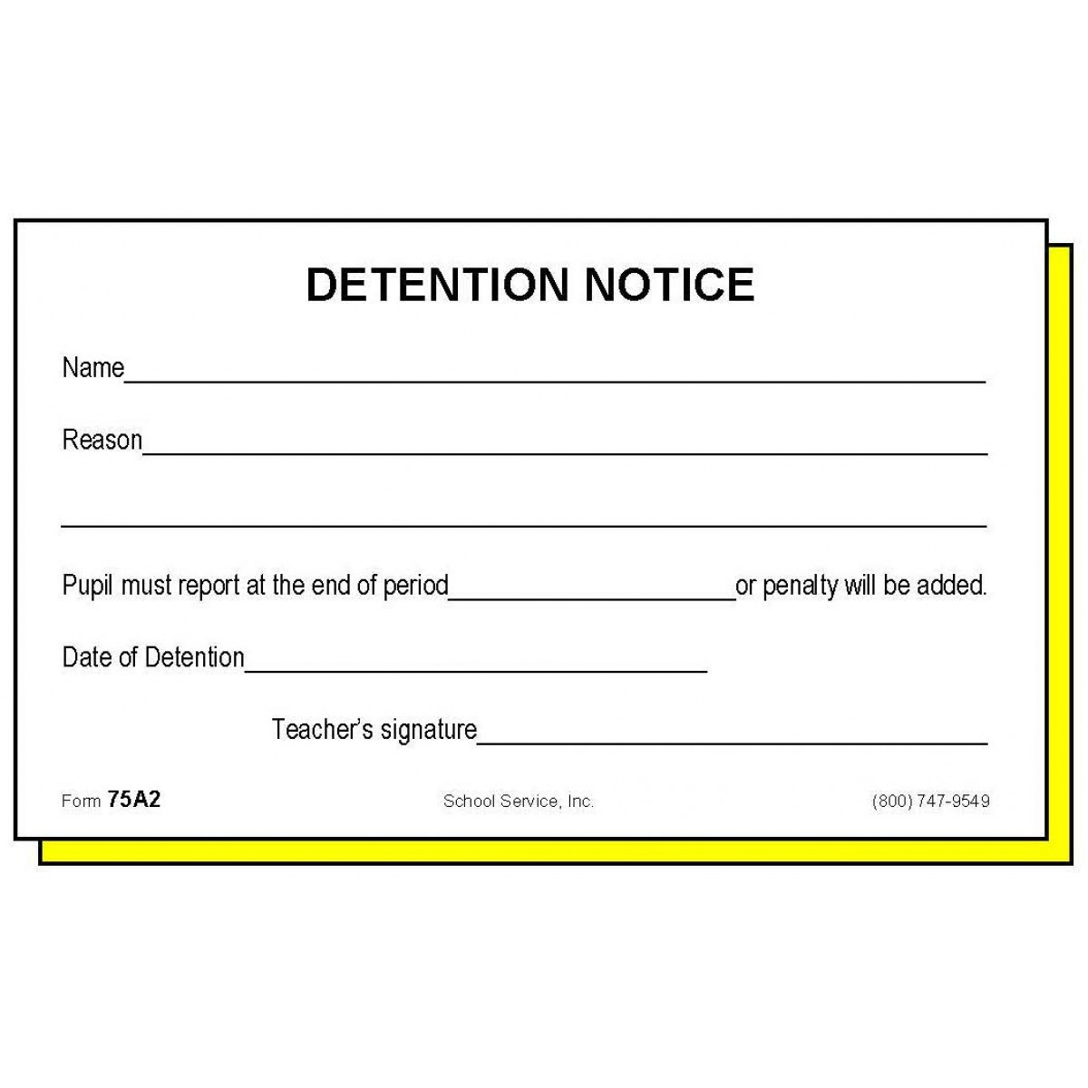 Two-Part Detention Notice - Carbonless Forms