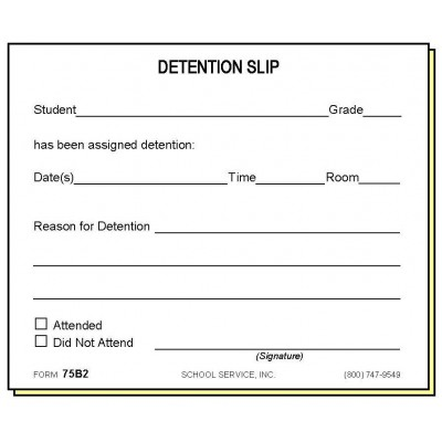 75B2 - Two-Part Detention Slip - Carbonless Forms
