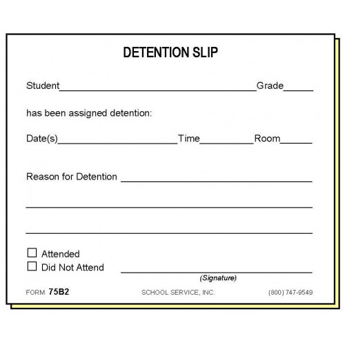 75b2 two part detention slip carbonless forms for Detention notice template