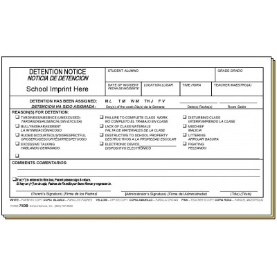 75DB - Detention Notice w/School Imprint - Bilingual - Carbonless Forms