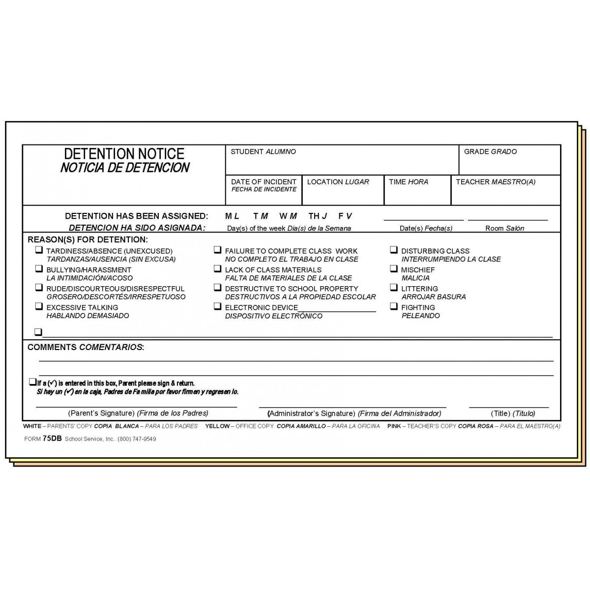 Detention Notice - Bilingual - Carbonless Forms