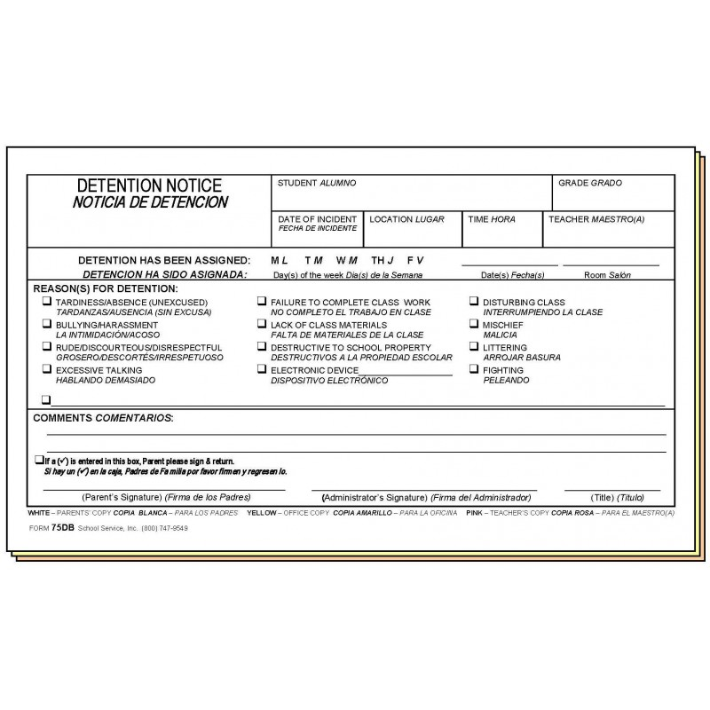 75DB - Detention Notice - Bilingual - Carbonless Forms