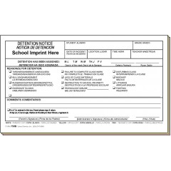 75DB - Detention Notice w/School Imprint - Bilingual