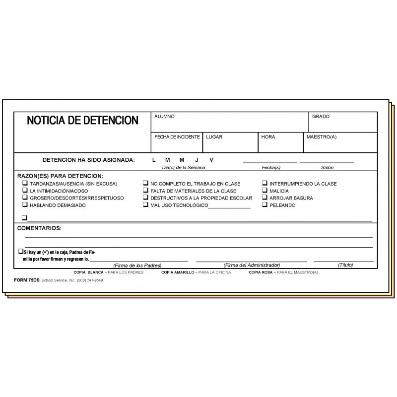 75DS - Detention Notice - Spanish Only - Carbonless Forms