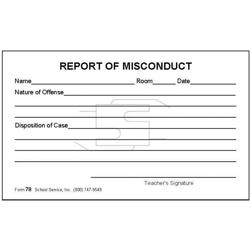 78 - Report of Misconduct - Padded Forms