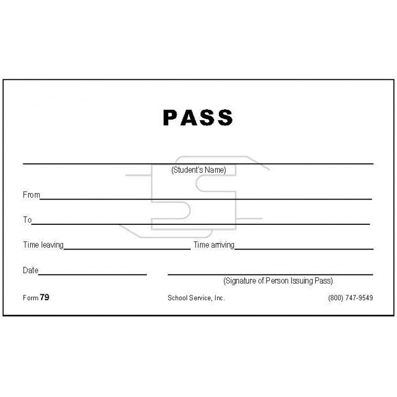 79 - Student Pass - Padded Forms
