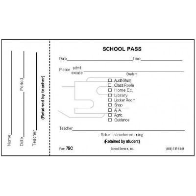 79C - Perforated School Pass - Padded Forms
