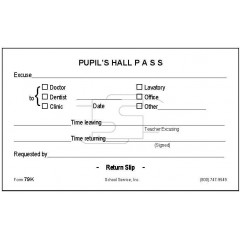 79K - Pupil's Hall Pass