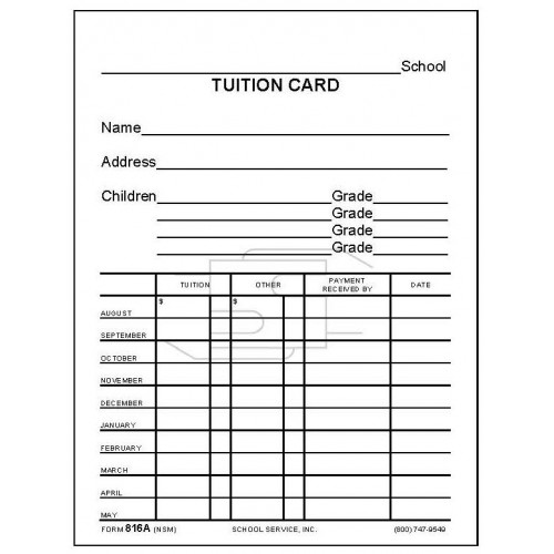 816a Tuition Card Index Card Forms