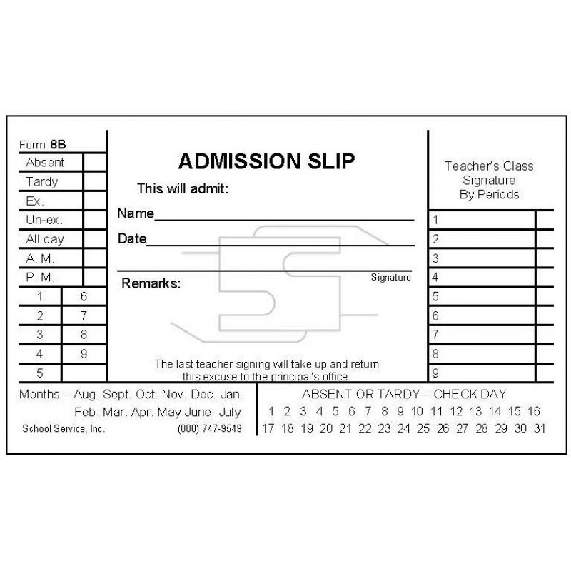 8B - Admission Slip - Padded Forms