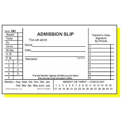 8B2 - Two-Part Admission Slip