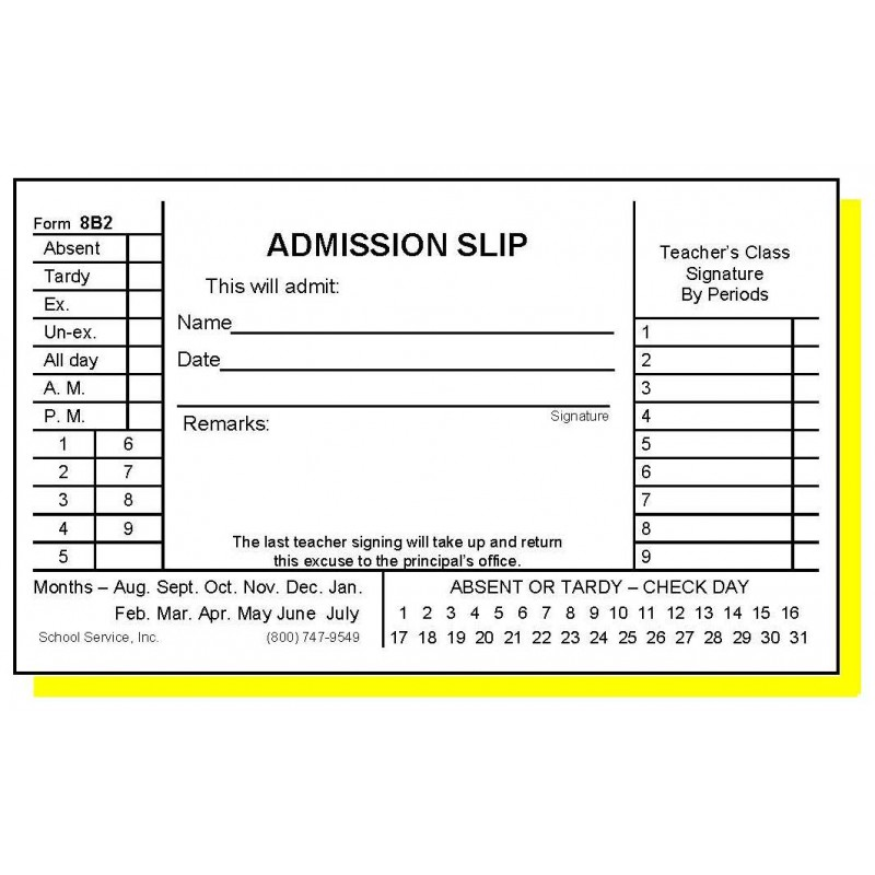 8B2 - Two-Part Admission Slip - Carbonless Forms