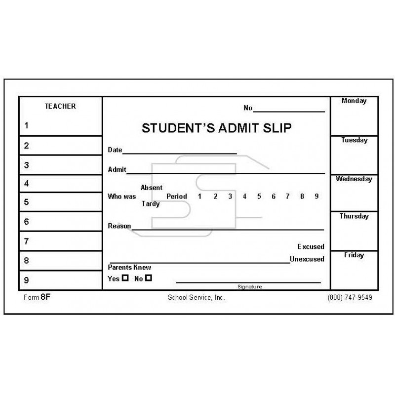 8F - Student s Admit Slip - Padded Forms