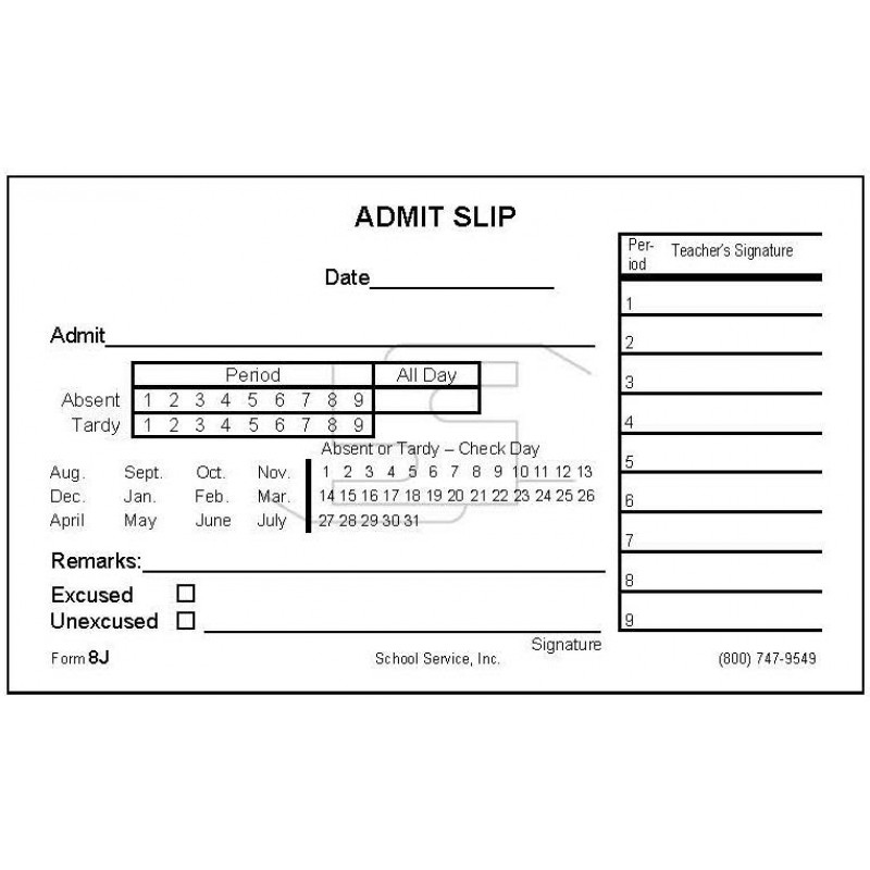 8J - Admit Slip - Padded Forms