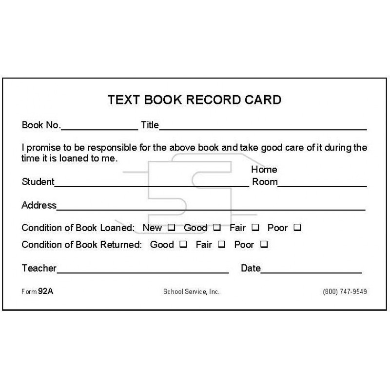 92A - Text Book Record Card - Index Card Forms
