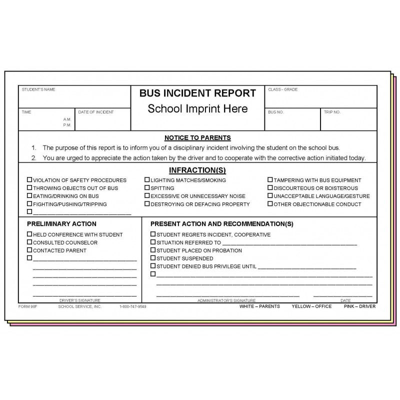 98F - Bus Incident Report w/School Imprint - Carbonless Forms