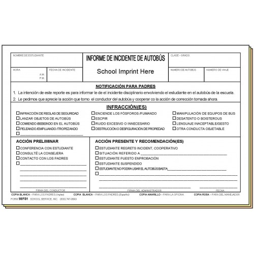 Bus Incident Report  Bilingual  Carbonless Forms