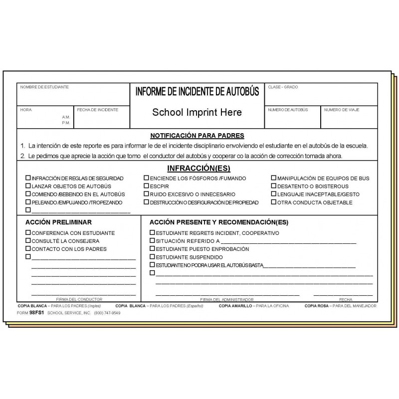 98FS1 - Bus Incident Report - Bilingual - Carbonless Forms
