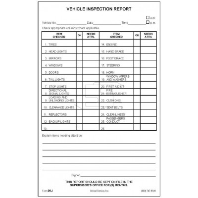 98J - Vehicle Inspection Report - Padded Forms-S