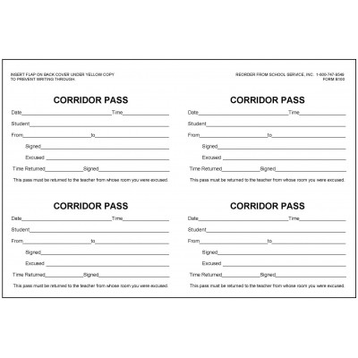 B100 - Corridor Pass Book - Book Forms