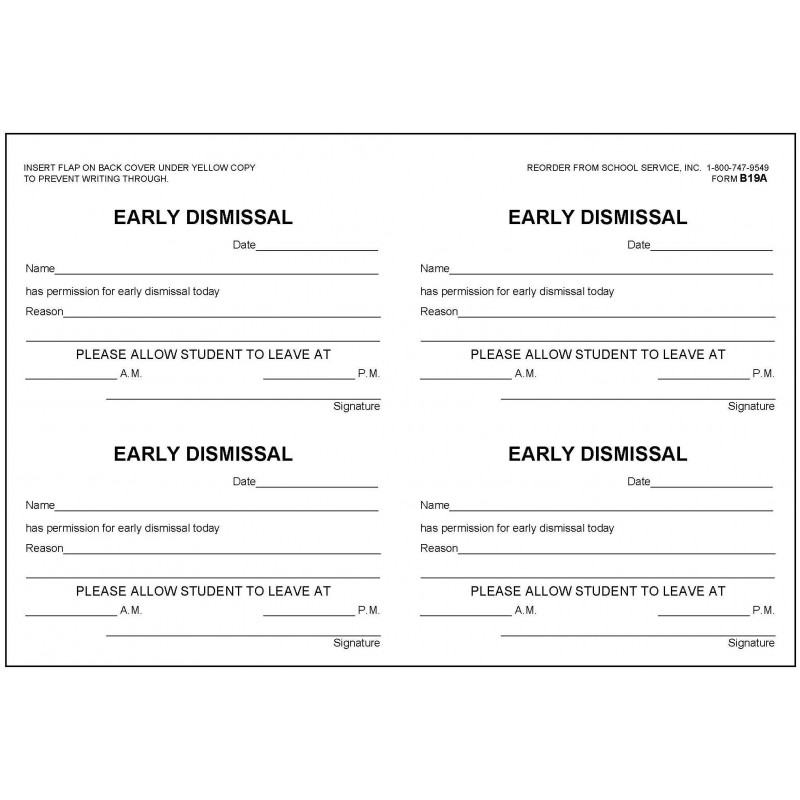 B19A -  Early Dismissal Book - Book Forms