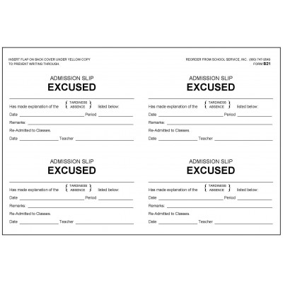 B21 - Admission Slip Excused Book - Book Forms