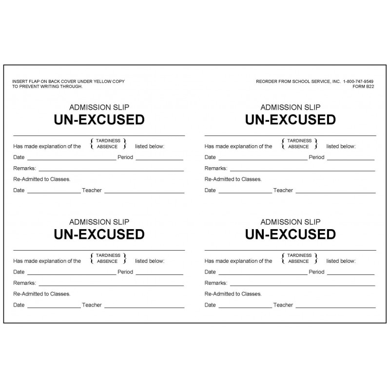 B22 - Admission Slip Unexcused Book - Book Forms