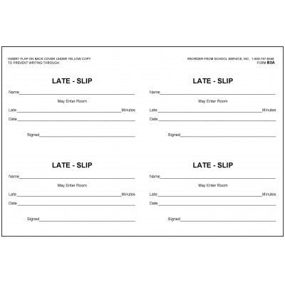 B3A - Late Slip Book - Book Forms