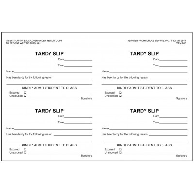 B3F - Tardy Slip Book - Book Forms