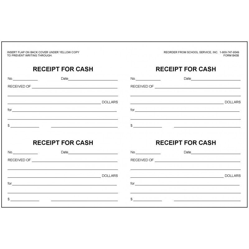 B43B - Receipt for Cash Book - Book Forms