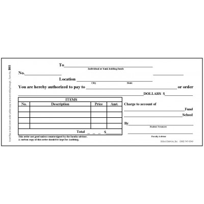 B65 - School Activity Order Book - Book Forms