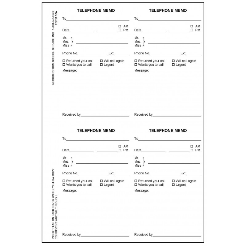 B7A - Telephone Memo Book - Book Forms
