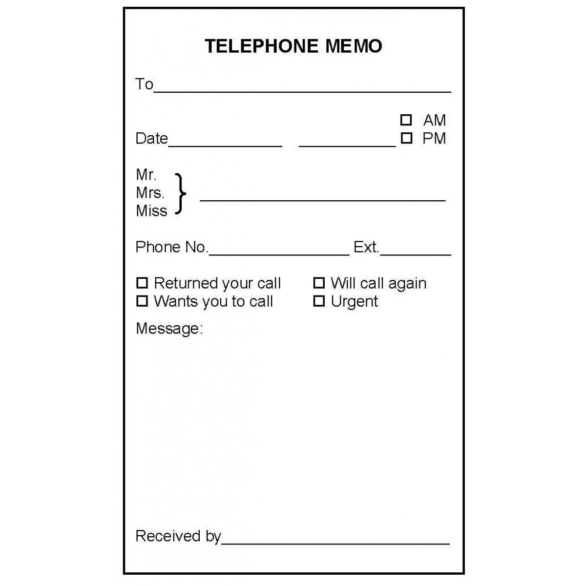 B7a telephone memo book book forms for Telephone memo template