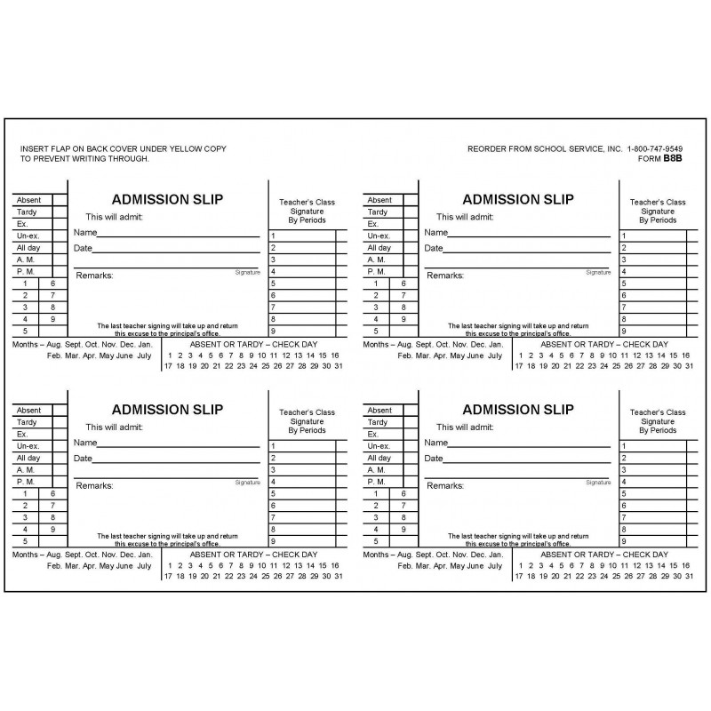 B8B - Admission Slip Book - Book Forms