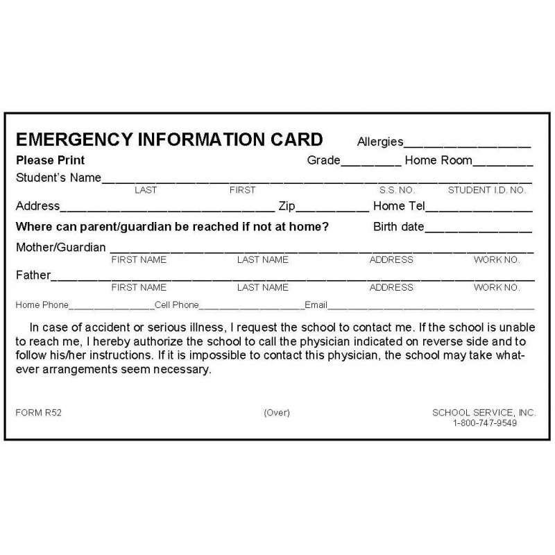 R52 - New Rolodex Emergency Card w/No Medication - Rolodex Cards