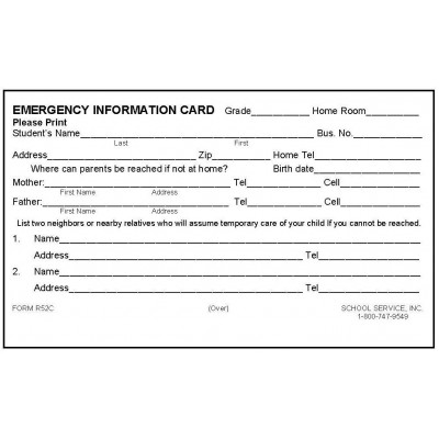 R52C - Rolodex Emergency Information Card - Rolodex Cards