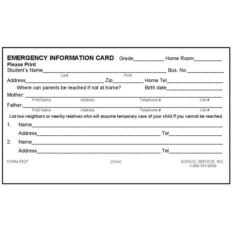 R52T - Rolodex Emergency Card w/Tylenol - Rolodex Cards