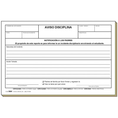 73CS1 - Discipline Notice - Bilingual - Carbonless Forms
