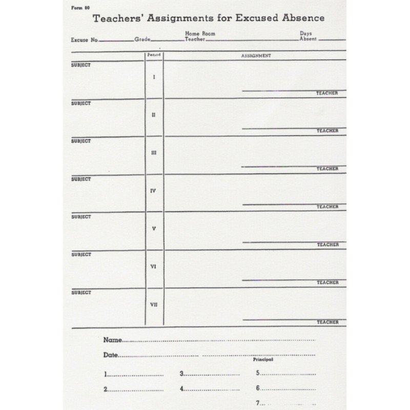 90 - Teacher s Assignments for Excused Absence - Padded Forms
