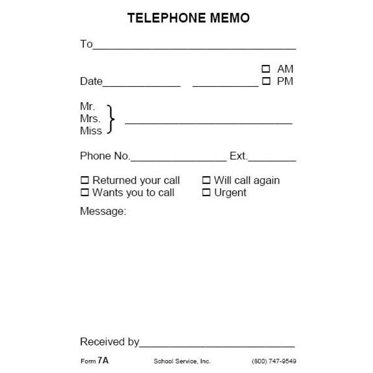 7a telephone memo padded forms