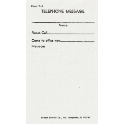 7B - Telephone Messsage - Padded Forms