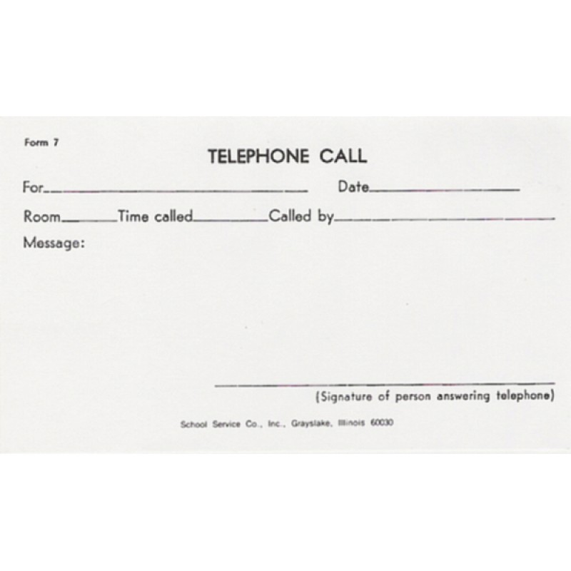7 - Telephone Call - Padded Forms