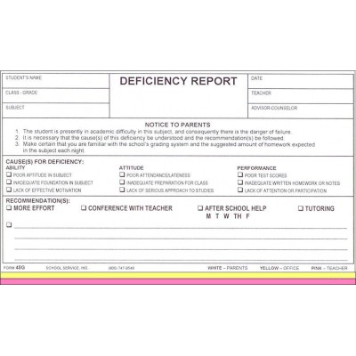 45G - Deficiency Report - Carbonless Forms